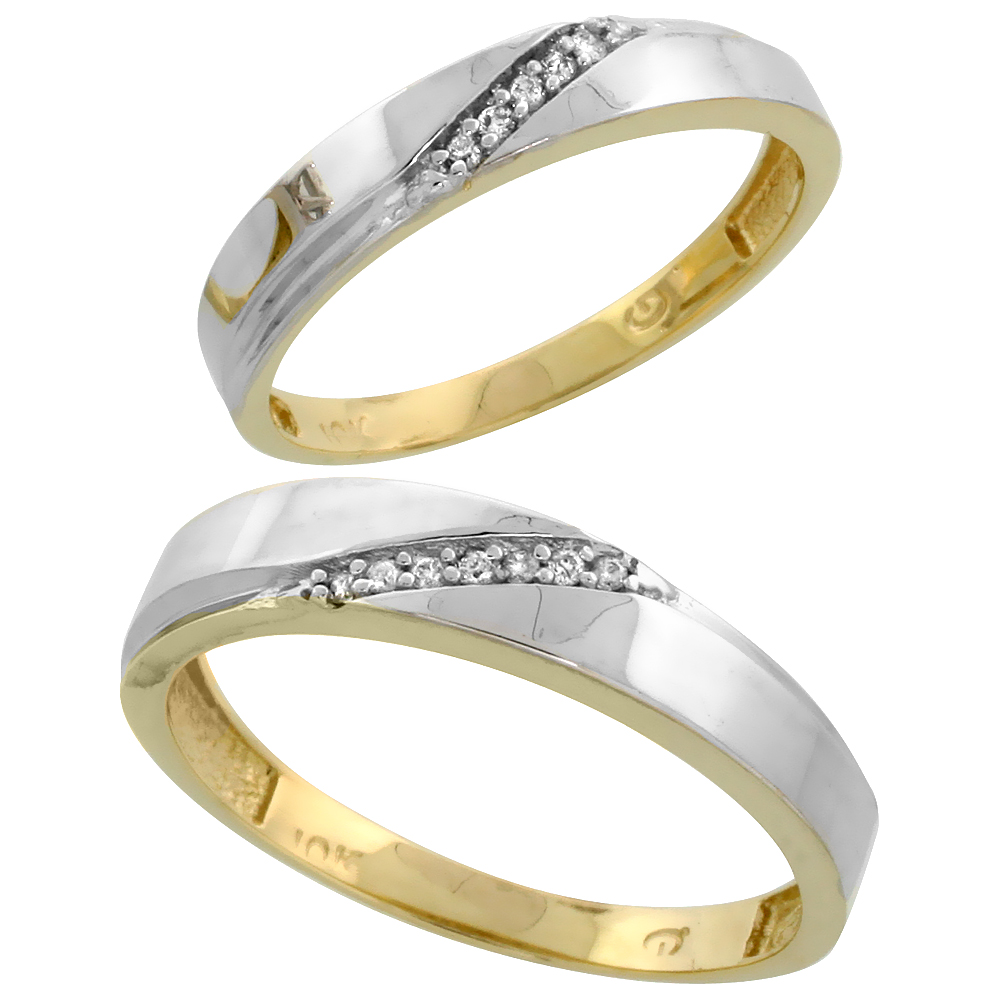 10k Yellow Gold Diamond 2 Piece Wedding Ring Set His 4.5mm & Hers 3.5mm, Men's Size 8 to 14