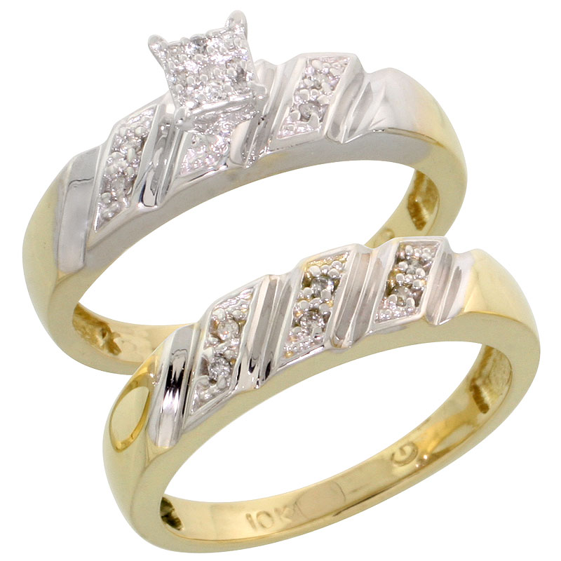 10k Yellow Gold Diamond Engagement Ring Set 2-Piece 0.10 cttw Brilliant Cut, 3/16 inch 5mm wide