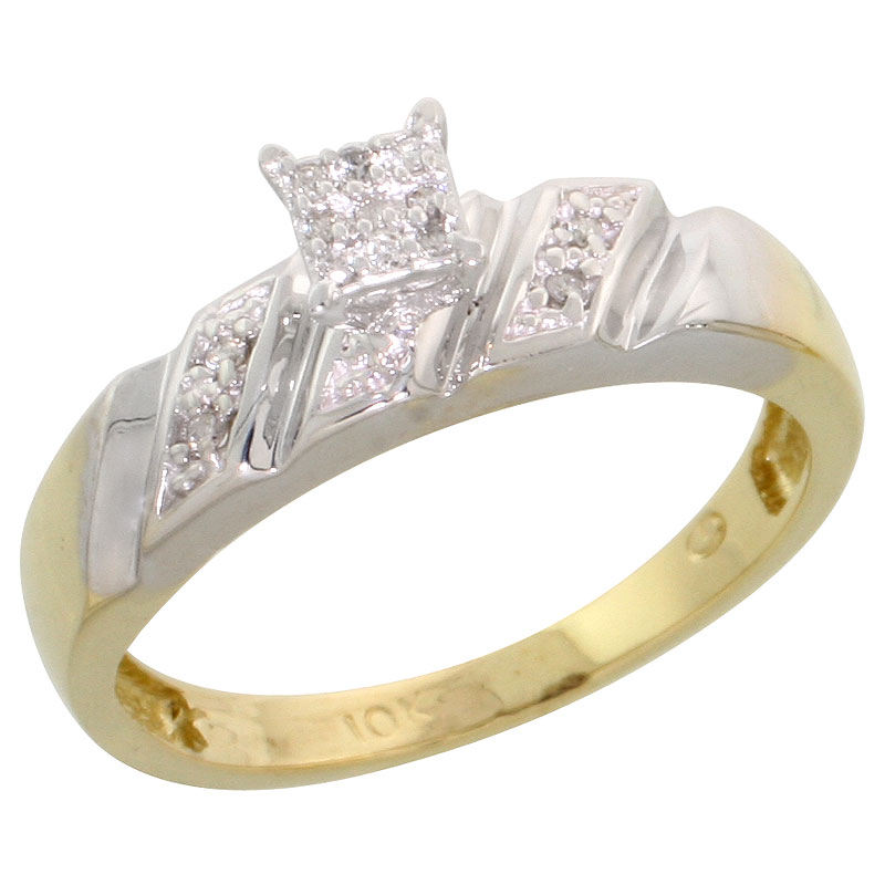 10k Yellow Gold Diamond Engagement Ring 0.07 cttw Brilliant Cut, 3/16 inch 5mm wide