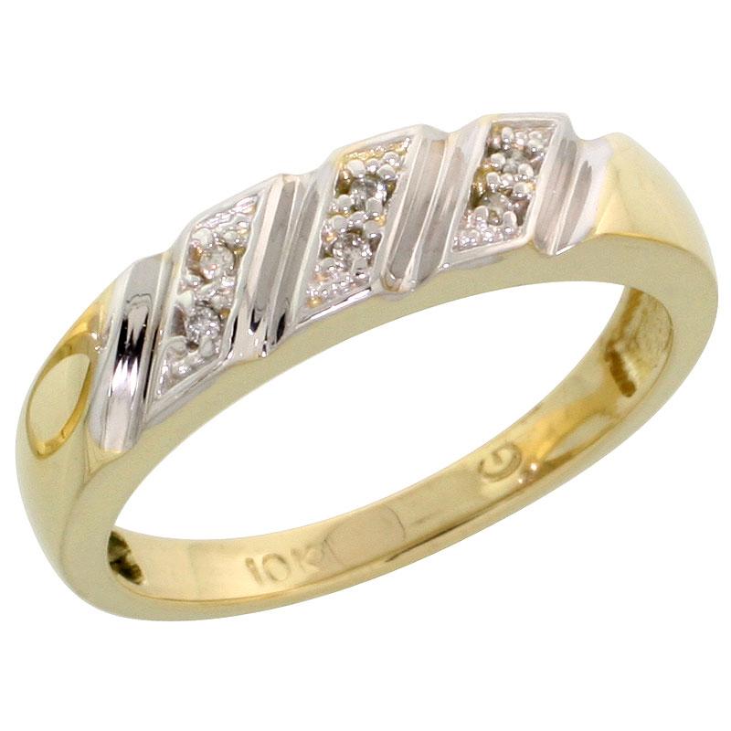 10k Yellow Gold Ladies Diamond Wedding Band Ring 0.03 cttw Brilliant Cut, 3/16 inch 5mm wide