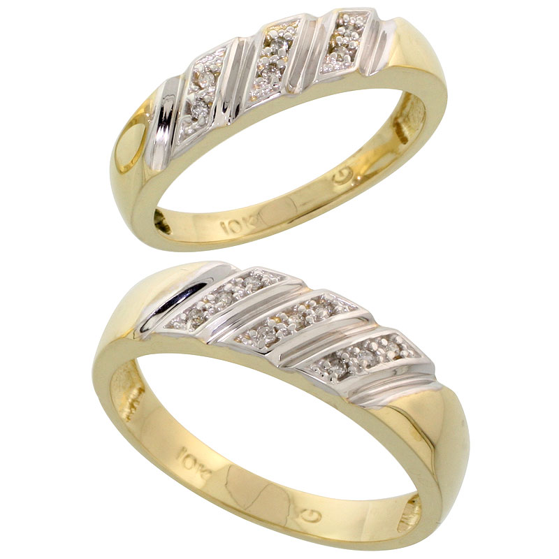 10k Yellow Gold Diamond Wedding Rings Set for him 6 mm and her 5 mm 2-Piece 0.08 cttw Brilliant Cut, ladies sizes 5 � 10, mens s
