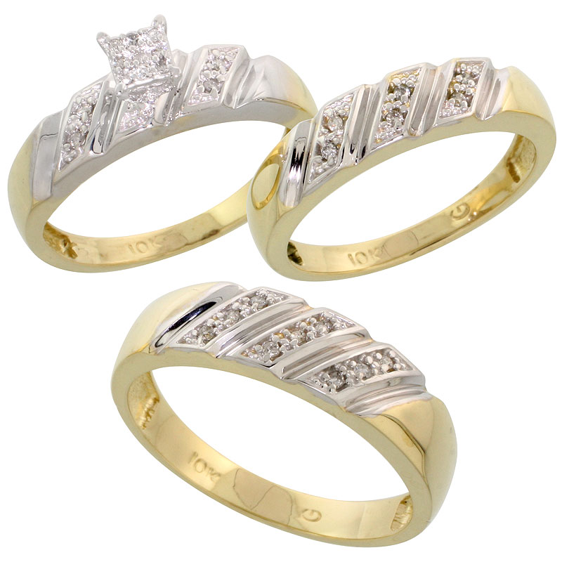 10k Yellow Gold Trio Engagement Wedding Ring Set for Him and Her 3-piece 6 mm & 5 mm wide 0.15 cttw Brilliant Cut, ladies sizes