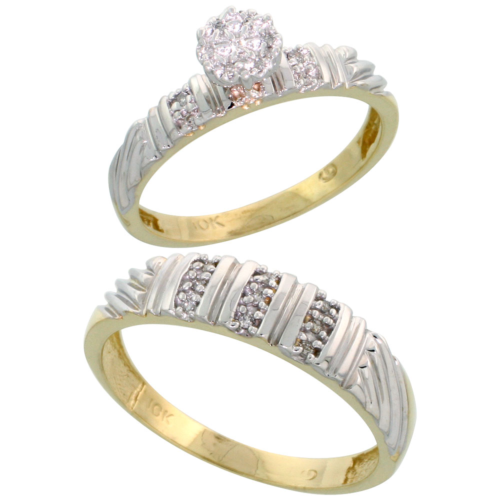 10k Yellow Gold Diamond Engagement Rings Set for Men and Women 2-Piece 0.11 cttw Brilliant Cut, 3.5mm & 5mm wide
