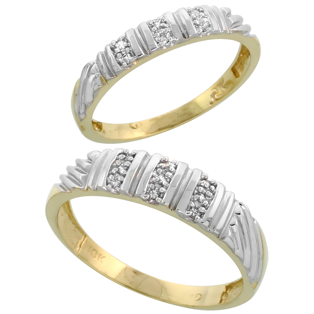 10k Yellow Gold Diamond Wedding Rings Set for him 5 mm and her 3.5 mm 2-Piece 0.08 cttw Brilliant Cut, ladies sizes 5 � 10, mens