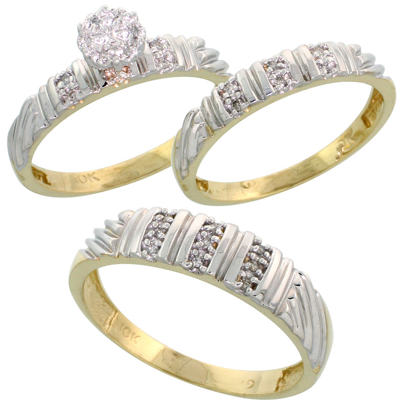 10k Yellow Gold Diamond Trio Engagement Wedding Ring Set for Him and Her 3-piece 5 mm & 3.5 mm wide 0.14 cttw Brilliant Cut, lad