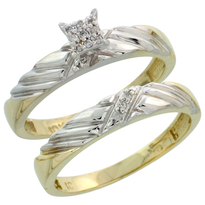 10k Yellow Gold Diamond Engagement Ring Set 2-Piece 0.08 cttw Brilliant Cut, 1/8 inch 3.5mm wide