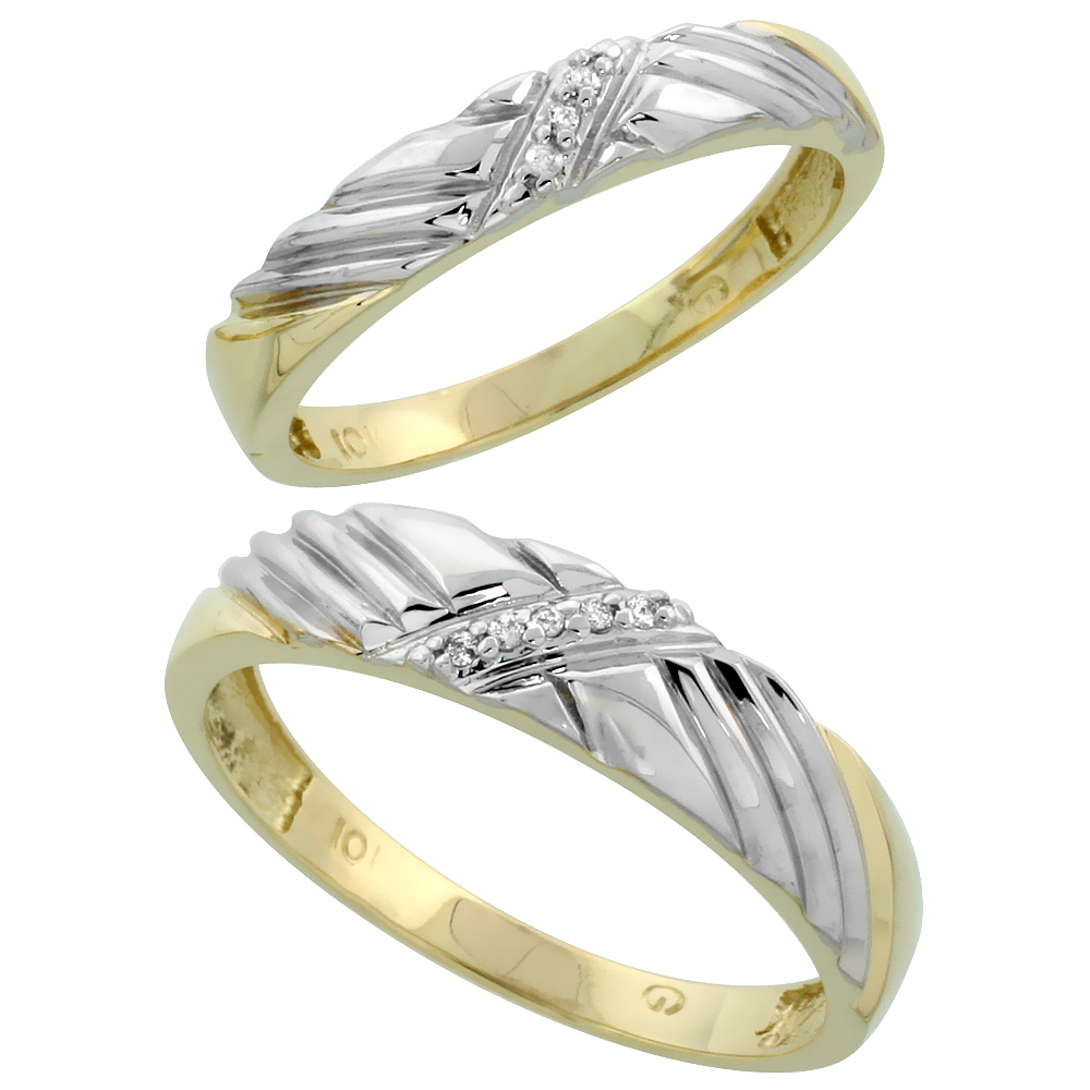 10k Yellow Gold Diamond Wedding Rings Set for him 5 mm and her 3.5 mm 2-Piece 0.05 cttw Brilliant Cut, ladies sizes 5 � 10, mens