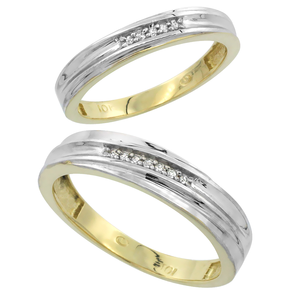 10k Yellow Gold Diamond Wedding Rings Set for him 5 mm and her 3.5 mm 2-Piece 0.07 cttw Brilliant Cut, ladies sizes 5 � 10, mens