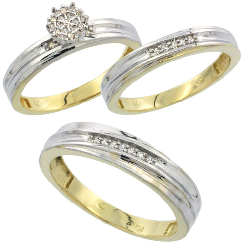 10k Yellow Gold Diamond Trio Engagement Wedding Ring Set for Him and Her 3-piece 5 mm & 3.5 mm wide 0.13 cttw Brilliant Cut, lad