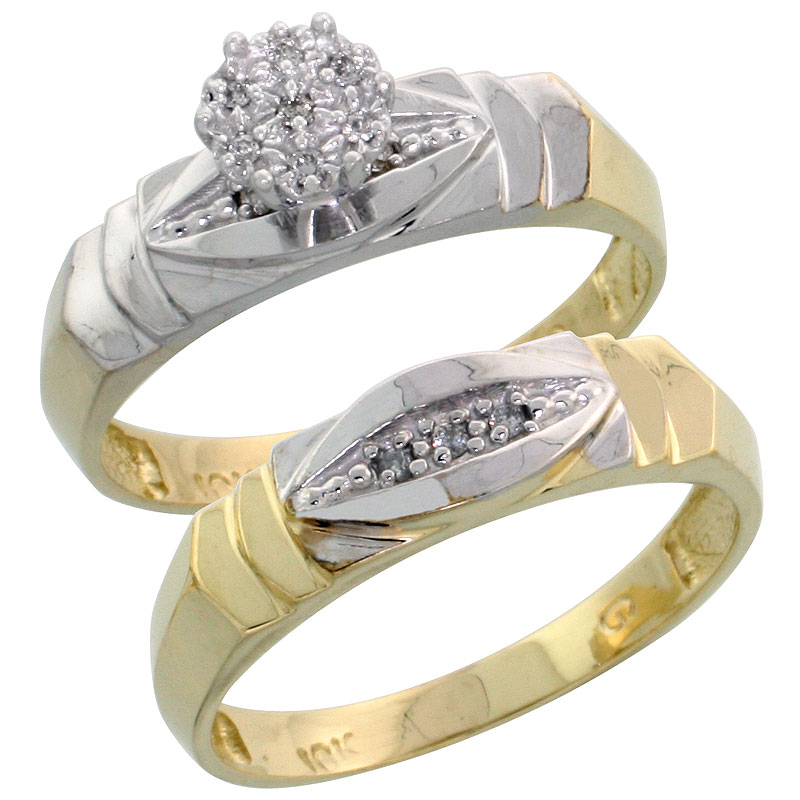 10k Yellow Gold Diamond Engagement Ring Set 2-Piece 0.06 cttw Brilliant Cut, 3/16 inch 5mm wide