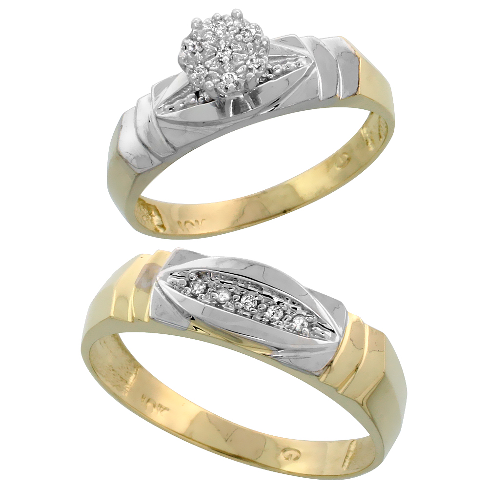 10k Yellow Gold Diamond Engagement Rings Set for Men and Women 2-Piece 0.07 cttw Brilliant Cut, 5mm & 6mm wide
