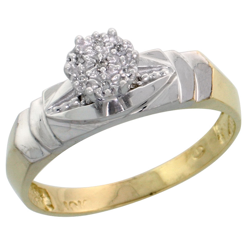 10k Yellow Gold Diamond Engagement Ring 0.04 cttw Brilliant Cut, 3/16 inch 5mm wide