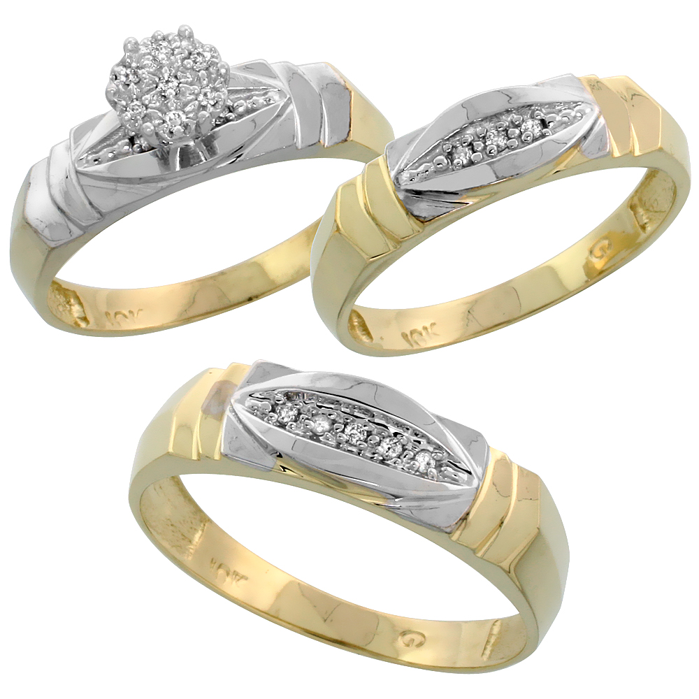 10k Yellow Gold Trio Engagement Wedding Ring Set for Him and Her 3-piece 6 mm & 5 mm wide 0.09 cttw Brilliant Cut, ladies sizes