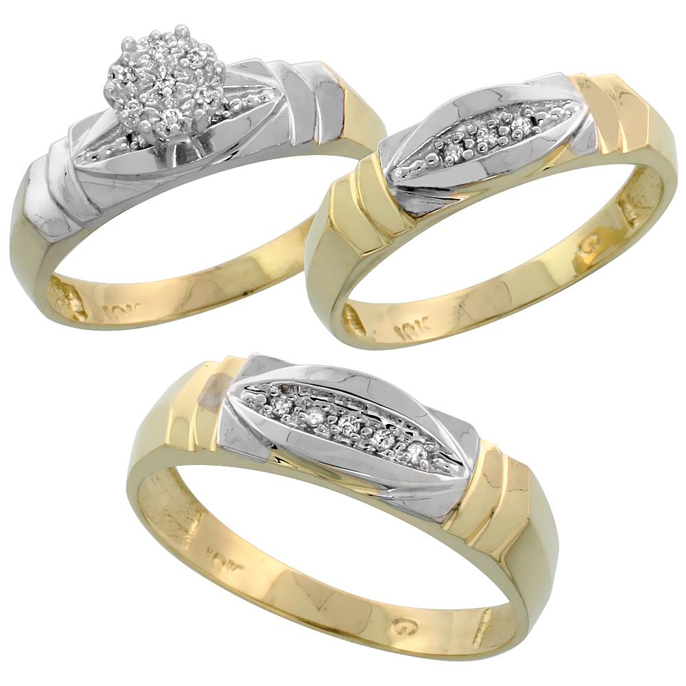 10k Yellow Gold Diamond Engagement Ring Women 0.04 cttw Brilliant Cut 3/16 inch 5mm wide