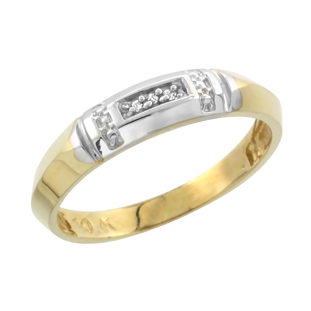 10k Yellow Gold Ladies Diamond Wedding Band Ring 0.02 cttw Brilliant Cut, 5/32 inch 4mm wide