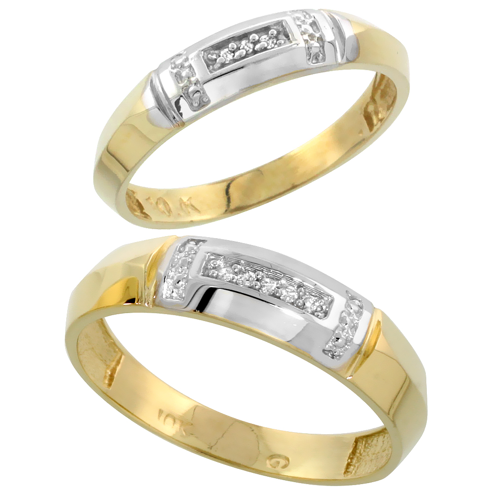 10k Yellow Gold Diamond Wedding Rings Set for him 5.5 mm and her 4 mm 2-Piece 0.05 cttw Brilliant Cut, ladies sizes 5 � 10, mens