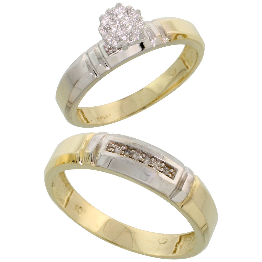 10k Yellow Gold Diamond Engagement Rings Set for Men and Women 2-Piece 0.08 cttw Brilliant Cut, 4mm & 5.5mm wide