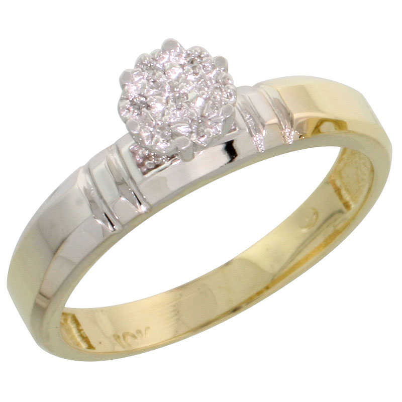 10k Yellow Gold Diamond Engagement Ring 0.05 cttw Brilliant Cut, 5/32 inch 4mm wide