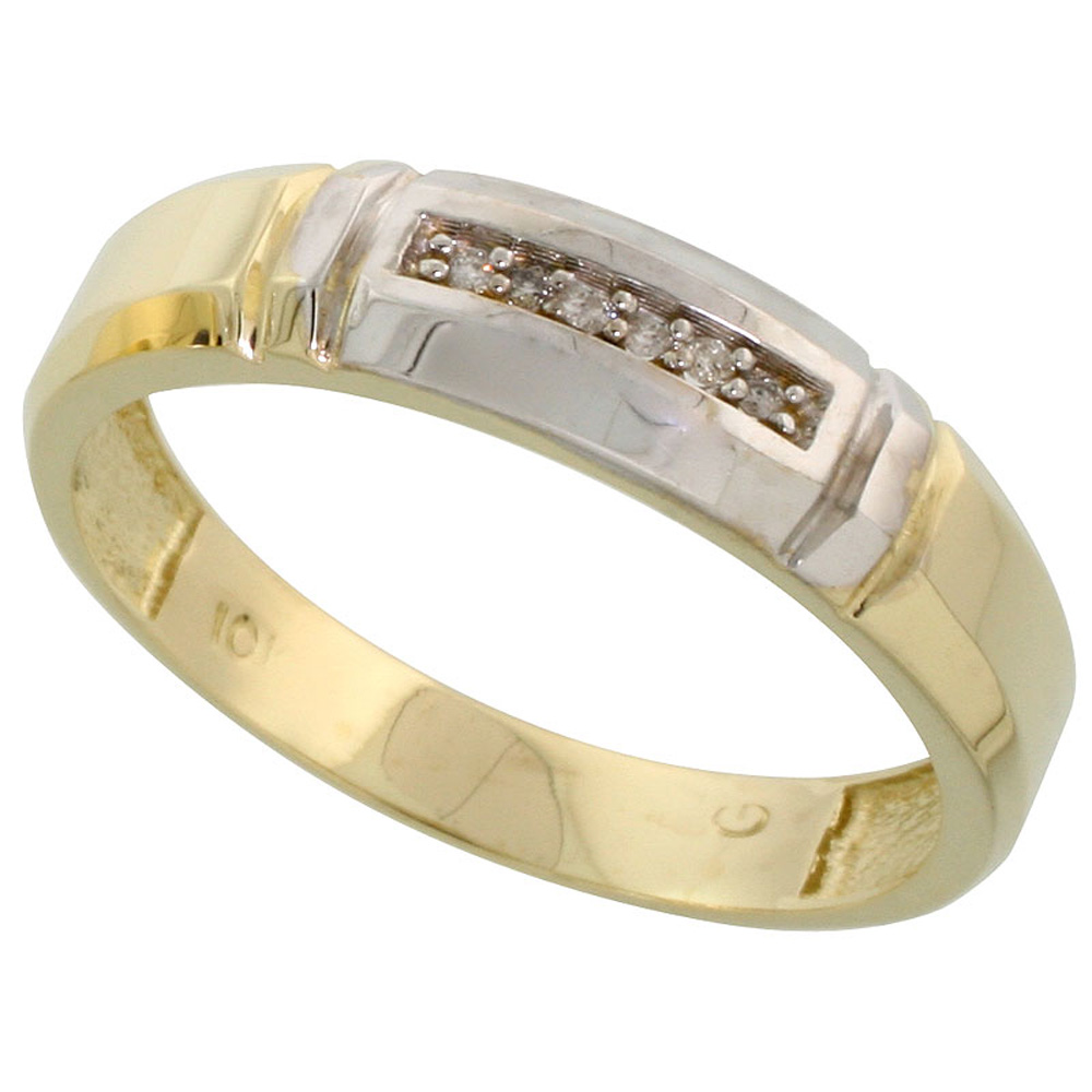 10k Yellow Gold Mens Diamond Wedding Band Ring 0.03 cttw Brilliant Cut, 7/32 inch 5.5mm wide