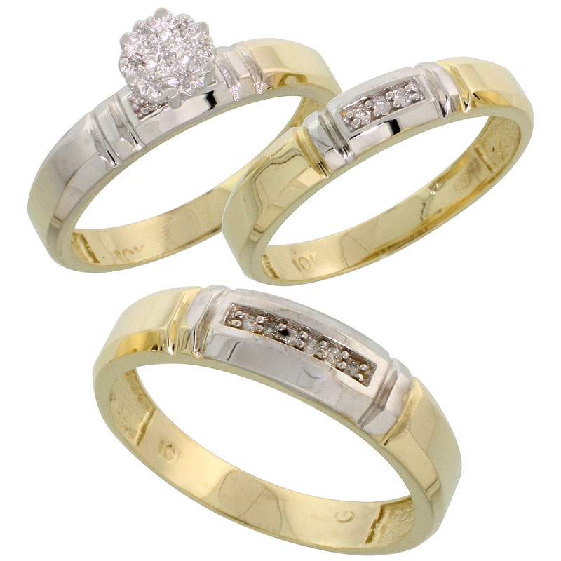 10k Yellow Gold Diamond Trio Engagement Wedding Ring Set for Him and Her 3-piece 4.5 mm & 4 mm wide 0.10 cttw Brilliant Cut, lad