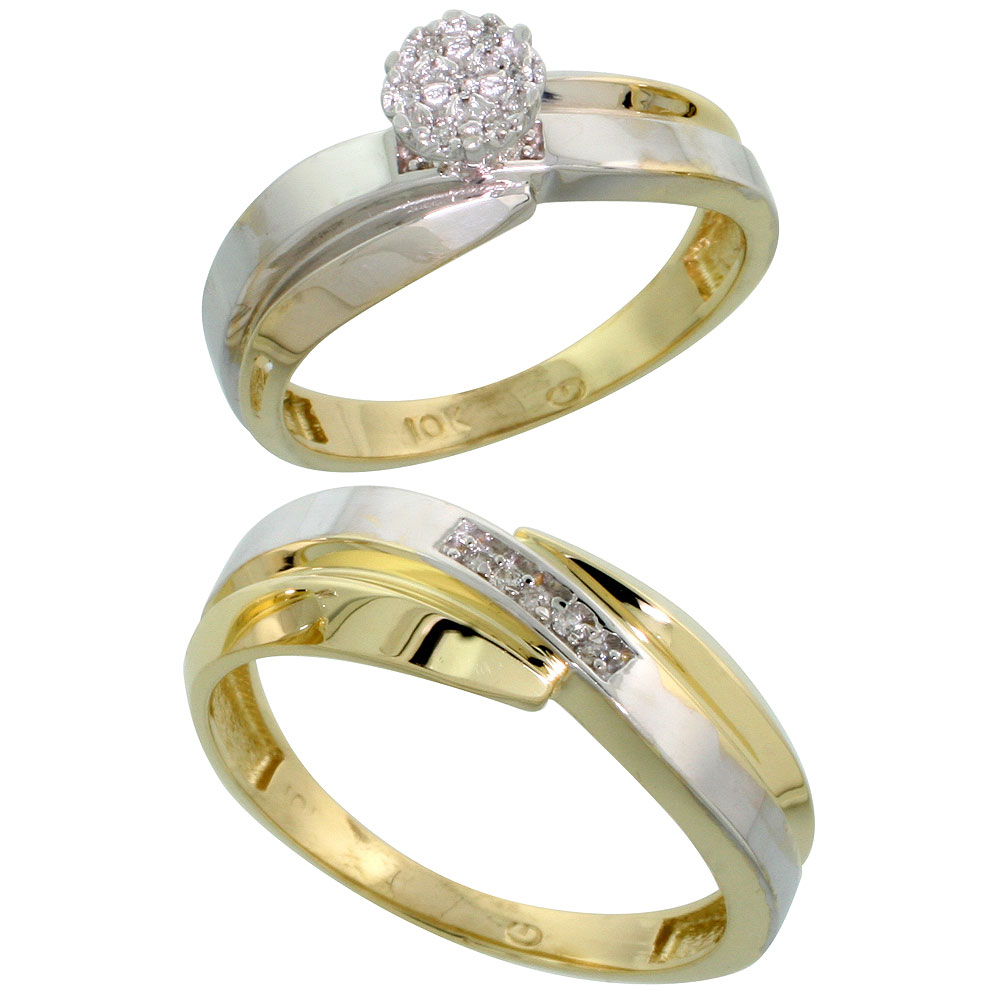 10k Yellow Gold Diamond Engagement Rings Set for Men and Women 2-Piece 0.08 cttw Brilliant Cut, 6mm & 7mm wide