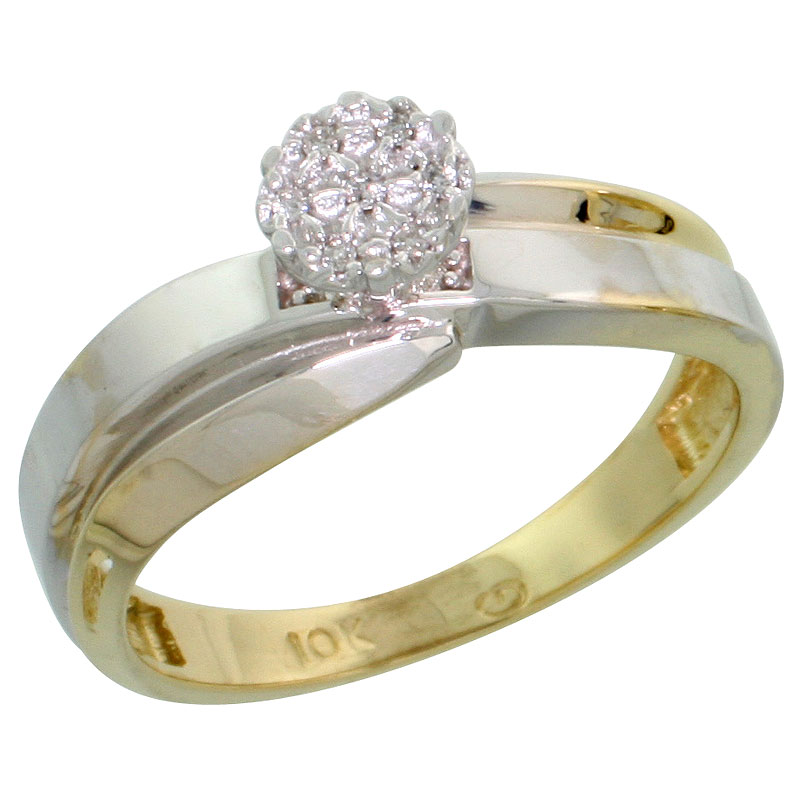 10k Yellow Gold Diamond Engagement Ring 0.05 cttw Brilliant Cut, 1/4 inch 6mm wide