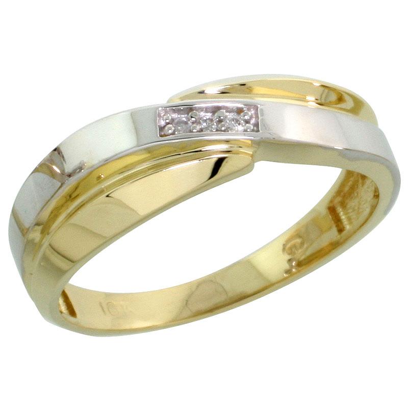 10k Yellow Gold Ladies Diamond Wedding Band Ring 0.02 cttw Brilliant Cut, 1/4 inch 6mm wide