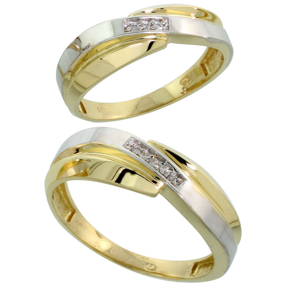 10k Yellow Gold Diamond Wedding Rings Set for him 7 mm and her 6 mm 2-Piece 0.05 cttw Brilliant Cut, ladies sizes 5 � 10, mens s