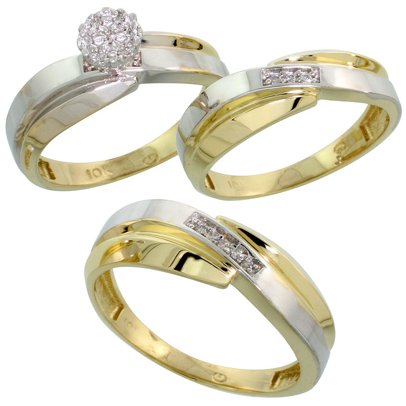 10k Yellow Gold Diamond Trio Engagement Wedding Ring Set for Him and Her 3-piece 7 mm & 6 mm wide 0.10 cttw Brilliant Cut, ladie