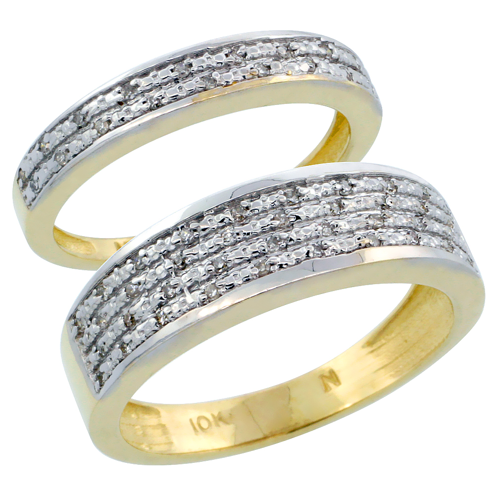 10k Gold 2-Piece His (6.5mm) & Hers (3.5mm) Diamond Wedding Ring Band Set w/ 0.18 Carat Brilliant Cut Diamonds; (Ladies Size 5 to10; Men's Size 8 to 14)