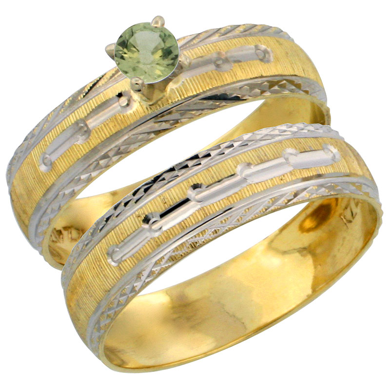 10k Gold Ladies' 2-Piece 0.25 Carat Green Sapphire Engagement Ring Set Diamond-cut Pattern Rhodium Accent, 3/16 in. (4.5mm) wide
