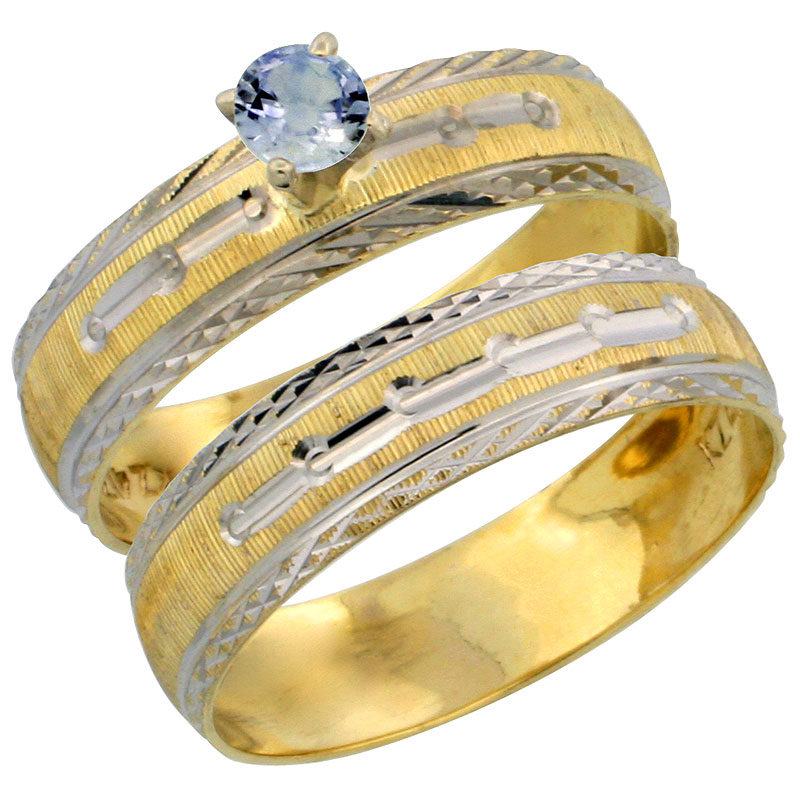 10k Gold Ladies' 2-Piece 0.25 Carat Light Blue Sapphire Engagement Ring Set Diamond-cut Pattern Rhodium Accent, 3/16 in. (4.5mm)