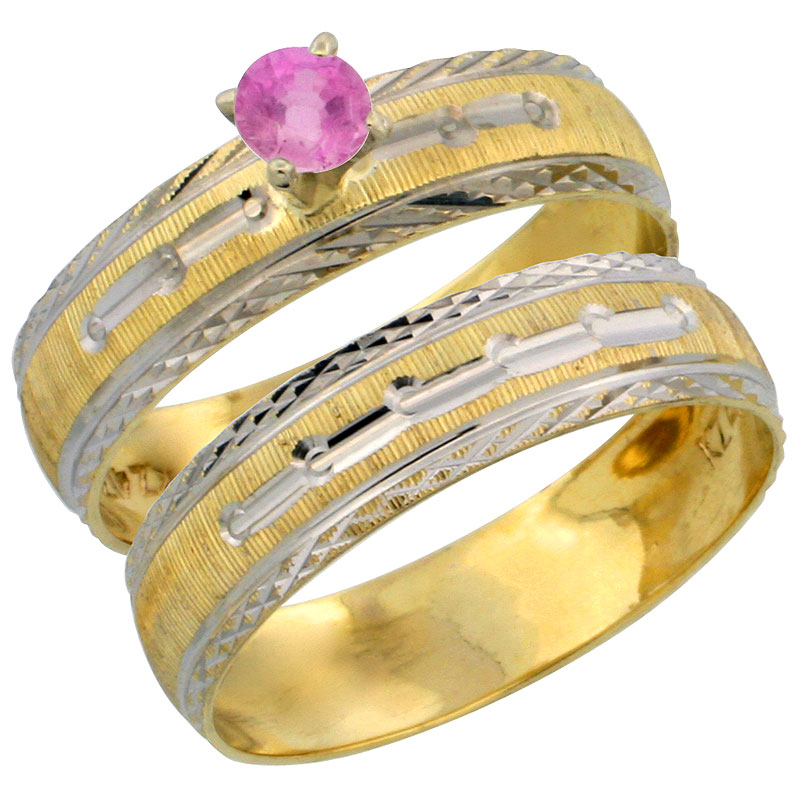 10k Gold Ladies' 2-Piece 0.25 Carat Pink Sapphire Engagement Ring Set Diamond-cut Pattern Rhodium Accent, 3/16 in. (4.5mm) wide,
