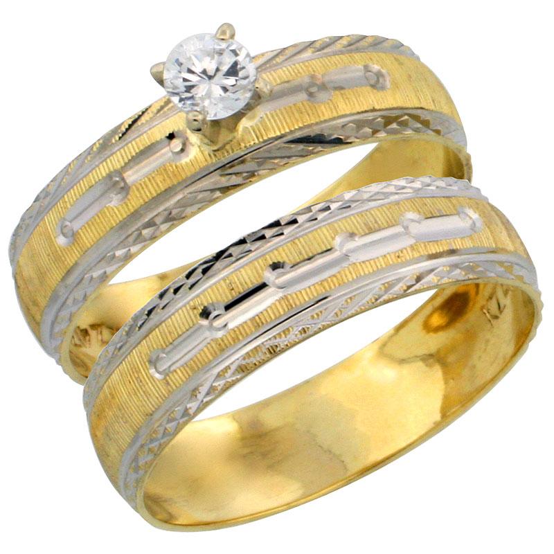 10k Gold Ladies' 2-Piece 0.25 Carat White Sapphire Engagement Ring Set Diamond-cut Pattern Rhodium Accent, 3/16 in. (4.5mm) wide