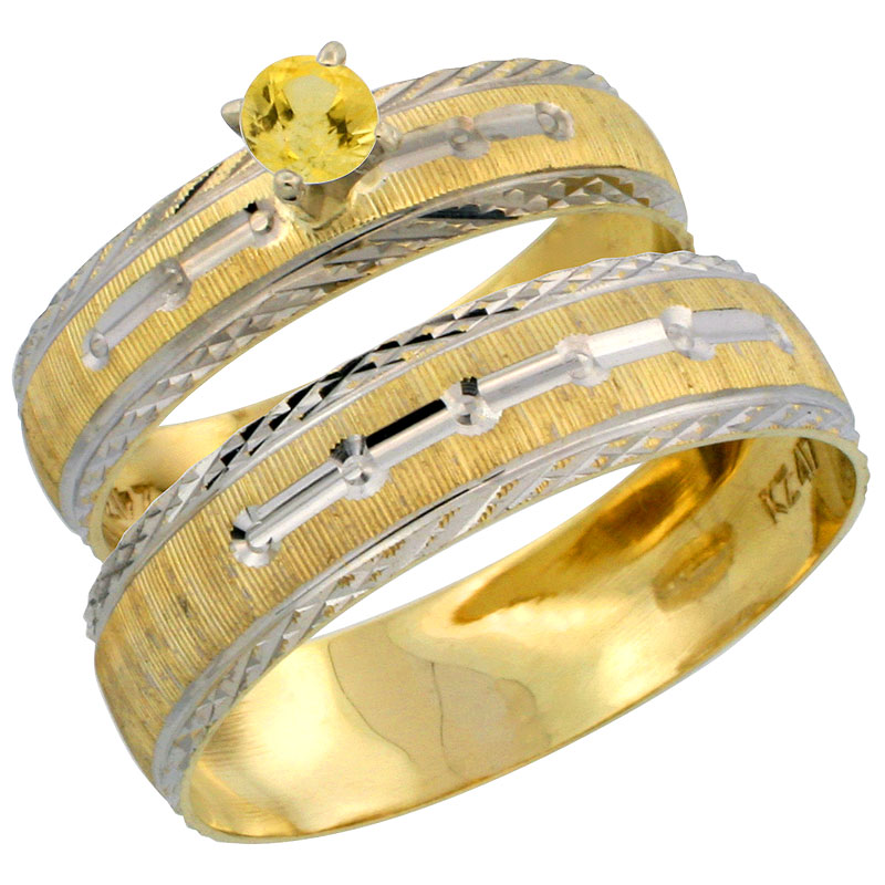 10k Gold 2-Piece 0.25 Carat Yellow Sapphire Ring Set (Engagement Ring & Man's Wedding Band) Diamond-cut Pattern Rhodium Accent,