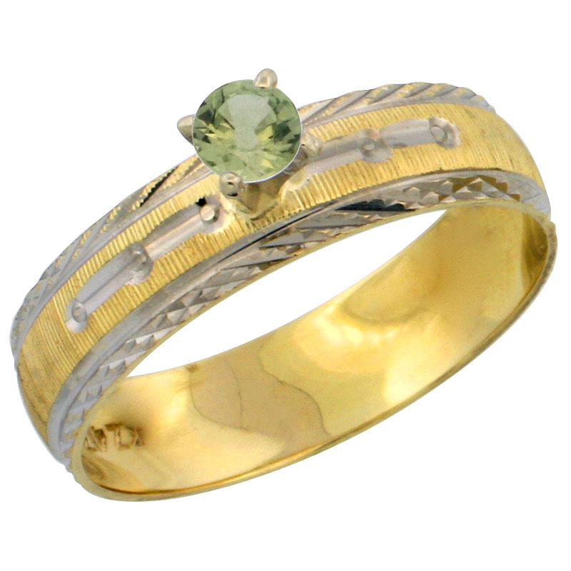 10k Gold Ladies' Solitaire 0.25 Carat Green Sapphire Engagement Ring Diamond-cut Pattern Rhodium Accent, 3/16 in. (4.5mm) wide,