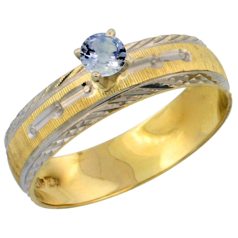 10k Gold Ladies' Solitaire 0.25 Carat Light Blue Sapphire Engagement Ring Diamond-cut Pattern Rhodium Accent, 3/16 in. (4.5mm) w