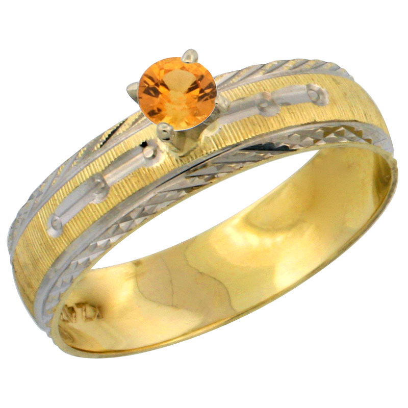 10k Gold Ladies' Solitaire 0.25 Carat Orange Sapphire Engagement Ring Diamond-cut Pattern Rhodium Accent, 3/16 in. (4.5mm) wide,