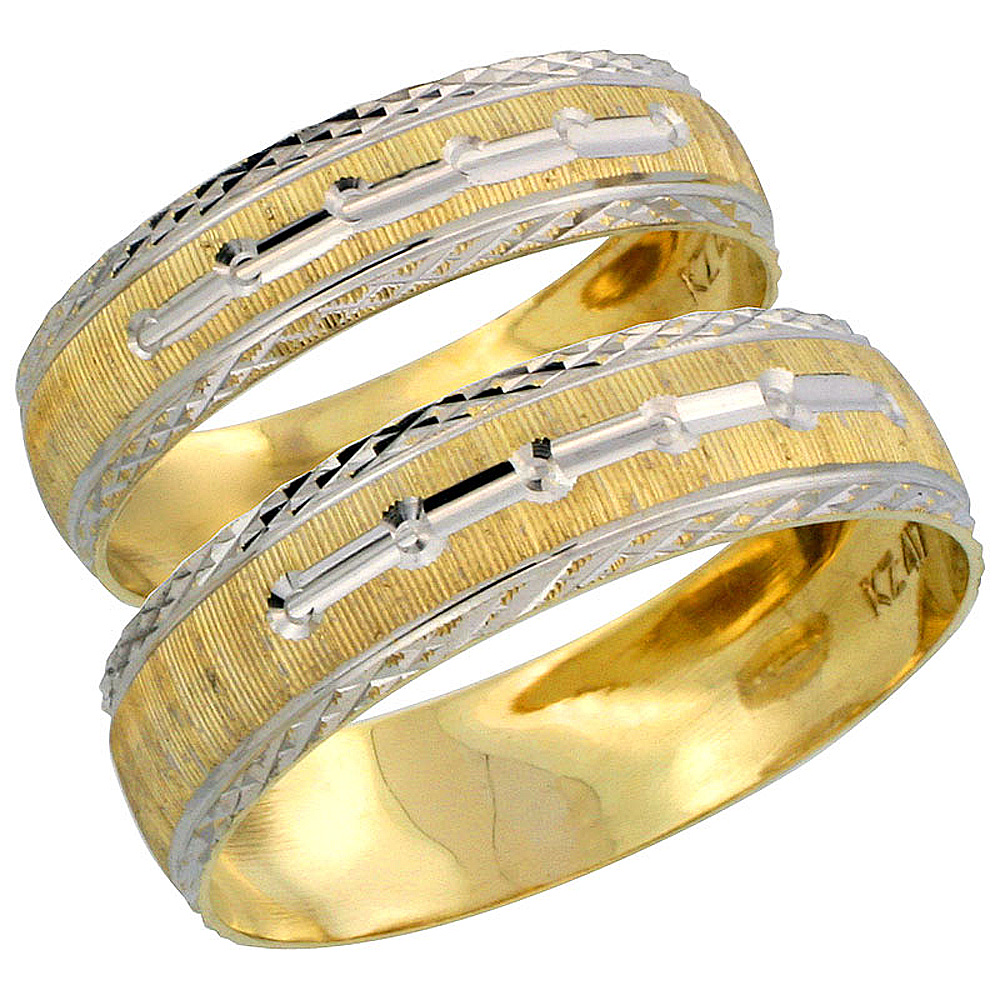 10k Gold 2-Piece Wedding Band Ring Set Him & Her 5.5mm & 4.5mm Diamond-cut Pattern Rhodium Accent, Ladies' Sizes 5 - 10 & Men's