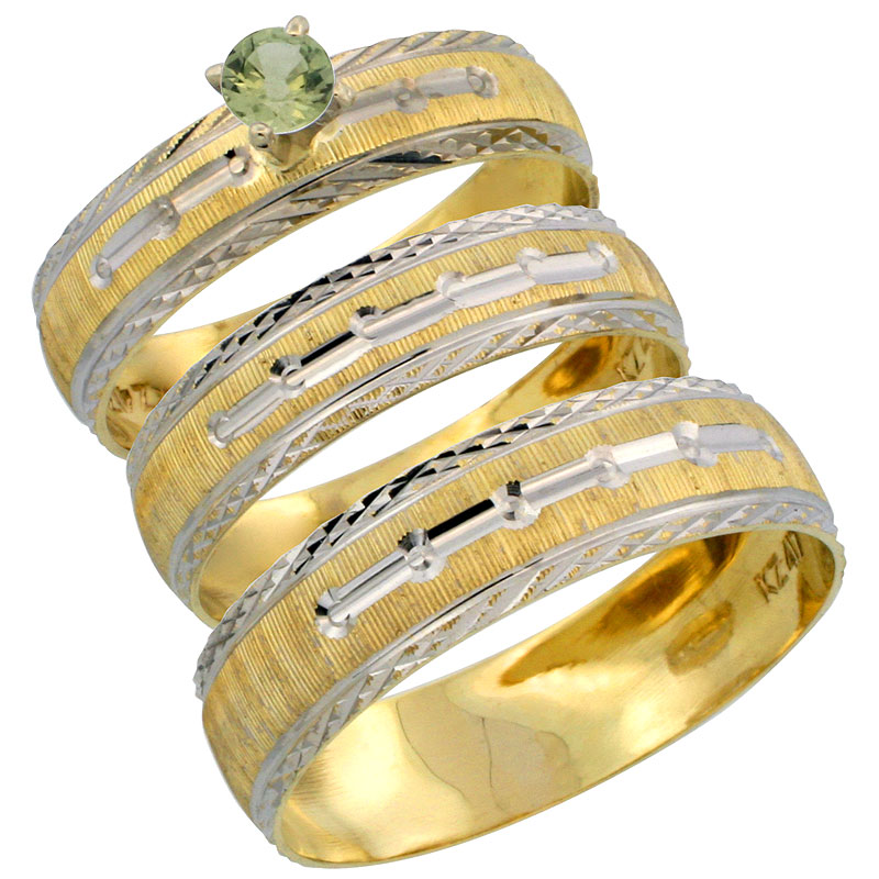 10k Gold 3-Piece Trio Green Sapphire Wedding Ring Set Him & Her 0.10 ct Rhodium Accent Diamond-cut Pattern, Ladies Sizes 5 - 10