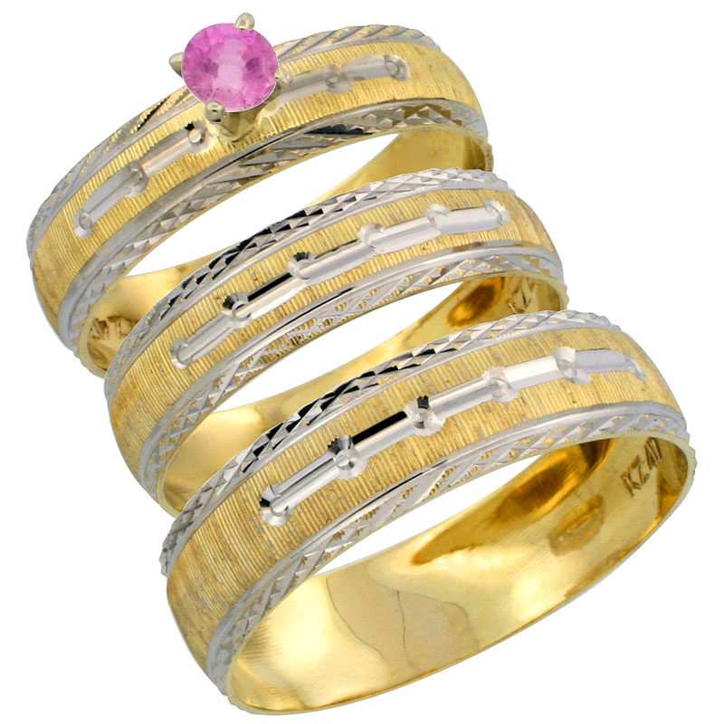 10k Gold 3-Piece Trio Pink Sapphire Wedding Ring Set Him & Her 0.10 ct Rhodium Accent Diamond-cut Pattern, Ladies Sizes 5 - 10 &