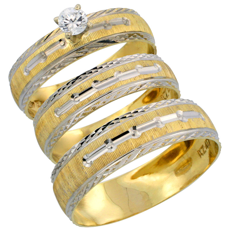 10k Gold 3-Piece Trio White Sapphire Wedding Ring Set Him & Her 0.10 ct Rhodium Accent Diamond-cut Pattern , Ladies Sizes 5 - 10