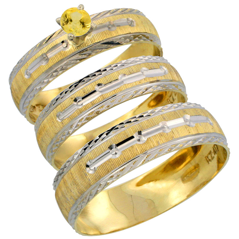 10k Gold 3-Piece Trio Yellow Sapphire Wedding Ring Set Him & Her 0.10 ct Rhodium Accent Diamond-cut Pattern, Ladies Sizes 5 - 10