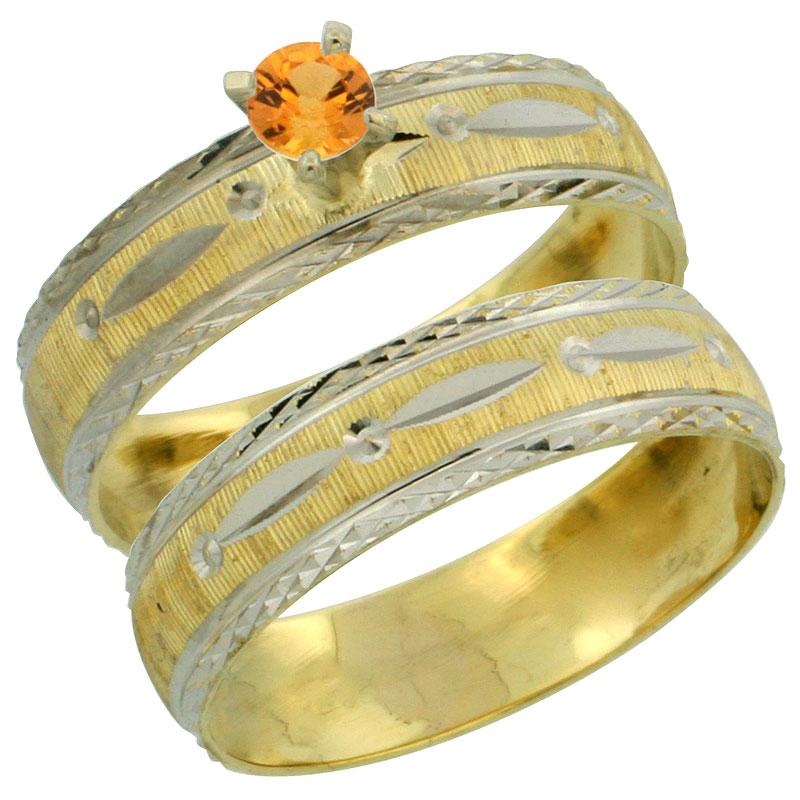 10k Gold Ladies' 2-Piece 0.25 Carat Orange Sapphire Engagement Ring Set Diamond-cut Pattern Rhodium Accent, 3/16 in. (4.5mm) wid