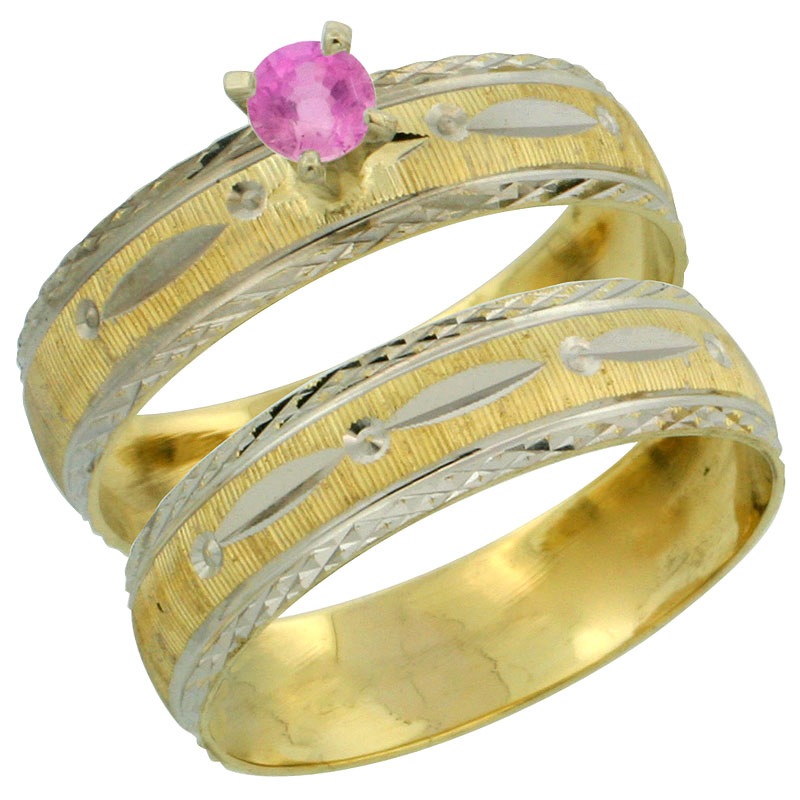 10k Gold Ladies' 2-Piece 0.25 Carat Pink Sapphire Engagement Ring Set Diamond-cut Pattern Rhodium Accent, 3/16 in. (4.5mm) wide, Sizes 5 - 10