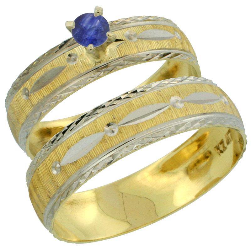 10k Gold 2-Piece 0.25 Carat Deep Blue Sapphire Ring Set (Engagement Ring & Man's Wedding Band) Diamond-cut Pattern Rhodium Accen