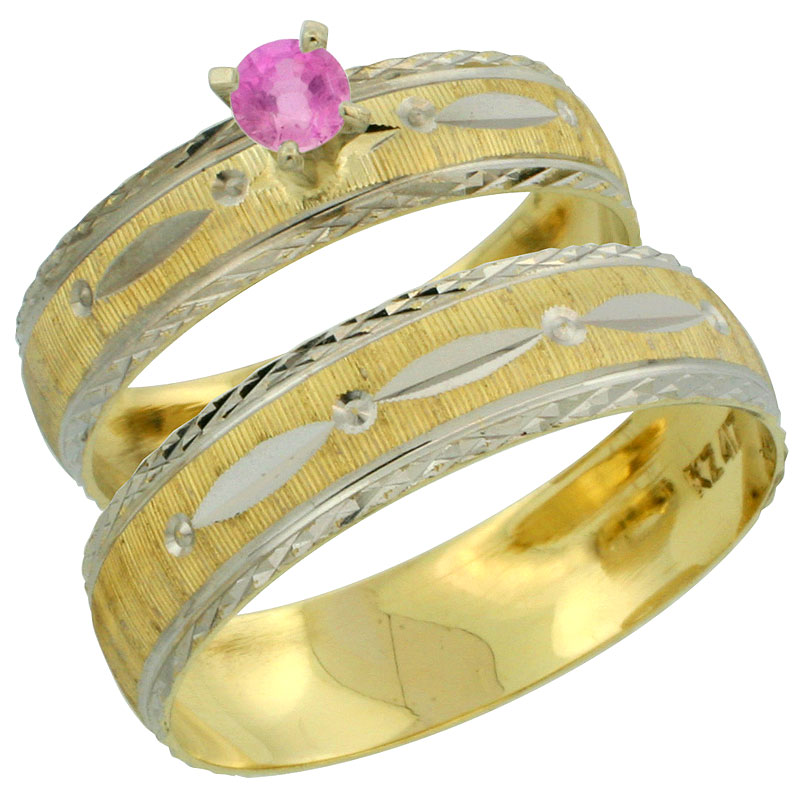 10k Gold 2-Piece 0.25 Carat Pink Sapphire Ring Set (Engagement Ring & Man's Wedding Band) Diamond-cut Pattern Rhodium Accent, (4.5mm; 5.5mm) wide , Ladies' Sizes 5 - 10 & Men's Size 8 - 14