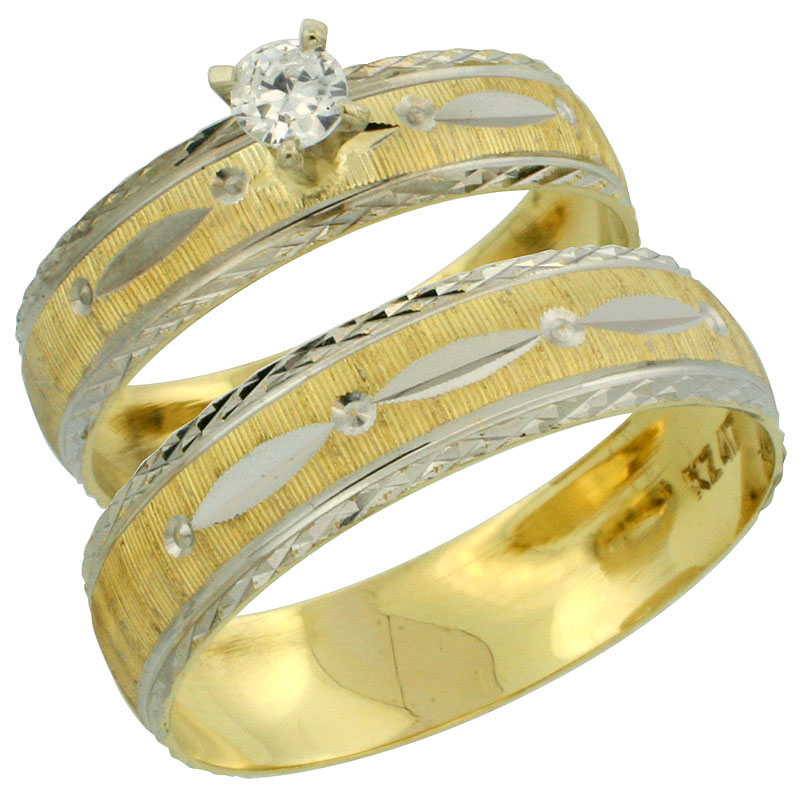 10k Gold 2-Piece 0.25 Carat White Sapphire Ring Set (Engagement Ring & Man's Wedding Band) Diamond-cut Pattern Rhodium Accent, (4.5mm; 5.5mm) wide , Ladies' Sizes 5 - 10 & Men's Size 8 - 14