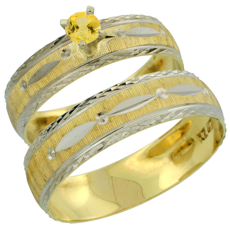10k Gold 2-Piece 0.25 Carat Yellow Sapphire Ring Set (Engagement Ring & Man's Wedding Band) Diamond-cut Pattern Rhodium Accent,