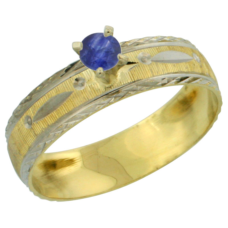 10k Gold Ladies' Solitaire 0.25 Carat Deep Blue Sapphire Engagement Ring Diamond-cut Pattern Rhodium Accent, 3/16 in. (4.5mm) wi